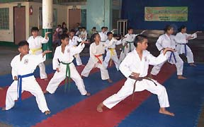 students in a karate dojo