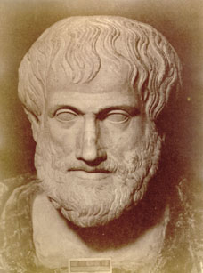 a bust of aristotle, a leading philosopher on happiness