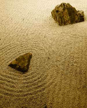 Zen garden, rocks and sand
